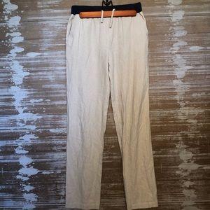 Vince Tan Linen Blend Drawstring Pants Size S